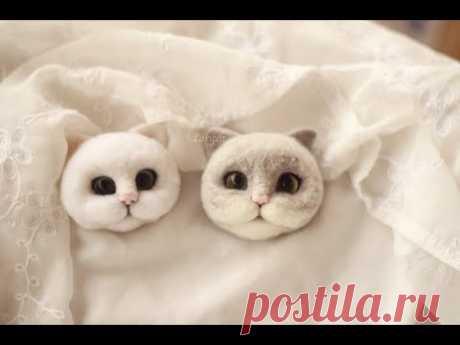 【lari手作】羊毛毡白色植毛猫头教程视频