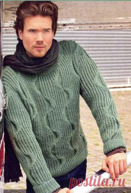 Модели вязания со схемами и описаниями: Мужской пуловер с красивым узором
