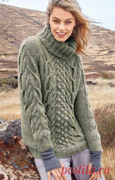 Свитер с рукавами реглан и рельефными узорами .  Шикарные крупные узоры, свободный силуэт и теплая пряжа превращают этот свитер в идеальную модель для прохладной погоды.  РАЗМЕРЫ   32/34 (36/38) 40/42   ВАМ ПОТРЕБУЕТСЯ   Пряжа (45% шерсти, 45% полиакрила, 10% альпака; 100 м/50 г) — 550 (650) 750 г серо-зеленой; спицы №4,5 и 5; круговые спицы №4,5; вспомогательная спица для вязания «кос».   УЗОРЫ И СХЕМЫ    РЕЗИНКА   Вязать (спицы №4,5) 1 кромочная, * 1 лицевая, 2 изнаночны...