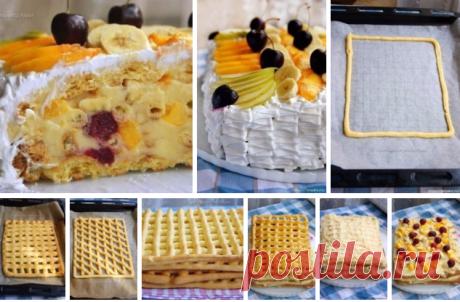 Original and tasty summer Tropikanka cake