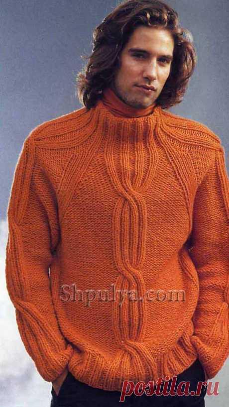 Оранжевый мужской пуловер с рукавами реглан — Shpulya.com - схемы с описанием для вязания спицами и крючком