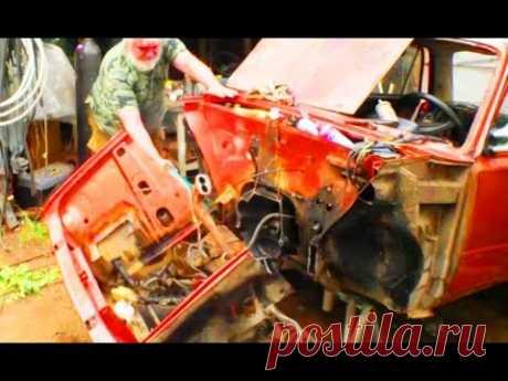 Косметический ремонт ВАЗ-2101. 2 день. Разбираю и отрезаю лицо автомобиля.