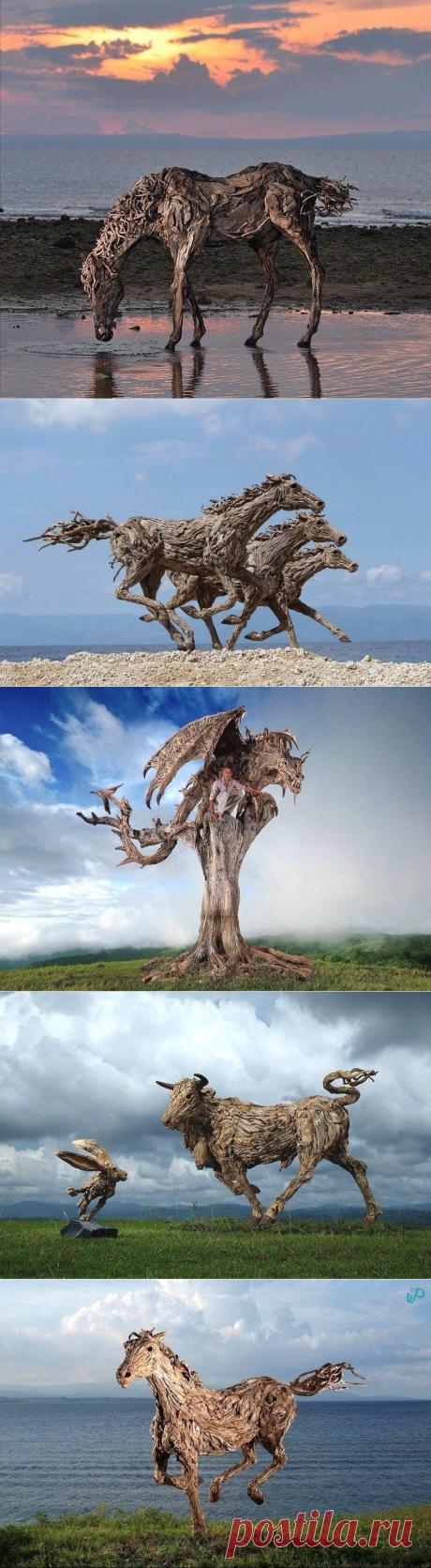 Этот скульптор создает свои невероятные работы из обыкновенных коряг, хвороста и щепок!