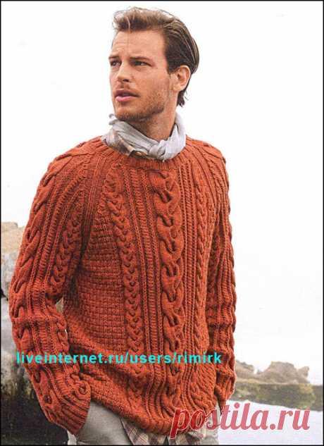 Вязаная мужская мода из Франции: Пуловер с косами от BDF (спицы)