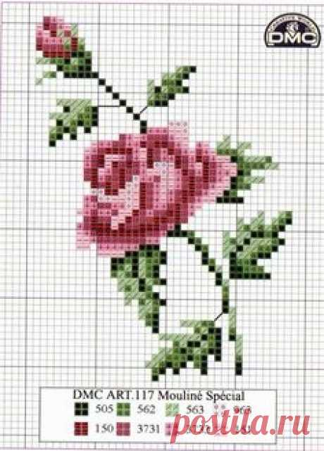 Схема розы для вышивки крестиком бисером