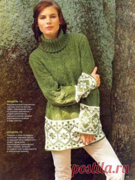 Рельефный пуловер с жаккардовыми планками — Мир вязания и рукоделия