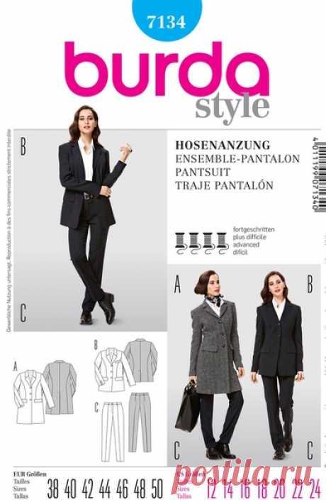 Брюки, Пиджак и Пальто  Размеры 38-50 eur  Burda 7134  #выкройки #брюки #пиджак #пальто
