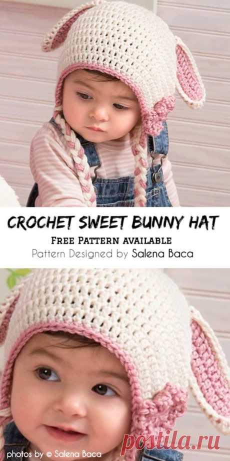Sweet Bunny Hat Free Crochet Pattern #crochetforchildren #crochetpatternfree #eastercrochetpattern #crochetbunnyhat #crochethat #crochethatpattern #crochetforkid #crafts #diy #yarn #stitches #crochetmania #simplecrochetidea