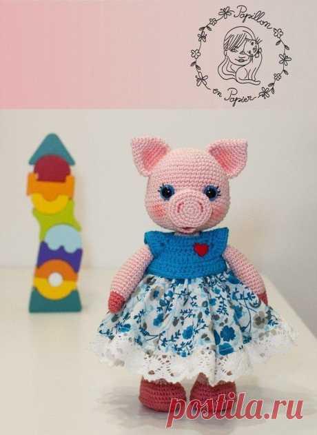 Свинка мисс Пигги крючком | Схемы игрушек амигуруми