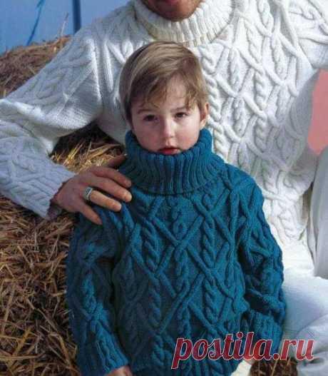 Объемный узор спицами для детских вещей | Вяжем детям Косы - объемный узор спицами для детских вещей. Этим узором вы можете связать теплый пуловер для мальчика, жакет или пальто для девочки.