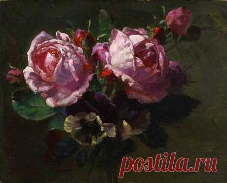 Jean-Baptiste Robie , Still Life with Roses 1877