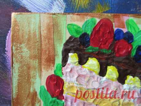 Cake Painting Dessert Art Kitchen Decor Food Impasto Acrylic   Etsy