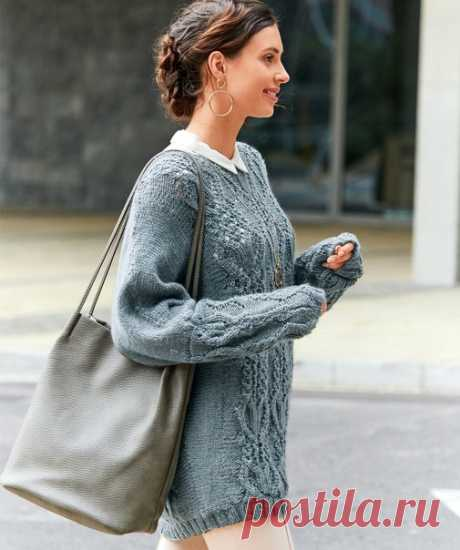 Джемпер-кимоно темно-серого цвета  Шикарный рельефный узор, украшающий перед и рукава этого джемпера, притягивает взгляд. А комфорт покроя кимоно обеспечивает необходимый комфорт в движениях.  Размеры 36/38 (40/42) 44/46  ВАМ ПОТРЕБУЕТСЯ Пряжа (60% натуральной шерсти, 40% полиакрила; 90 м/50 г) — 650 (700) 750 г темно-серой; спицы №4,5 и 5; короткие и длинные круговые спицы №4,5.  УЗОРЫ И СХЕМЫ  Следующие узоры вязать на спицах №5.  ИЗНАНОЧНАЯ ГЛАДЬ Лицевые ряды — изнаночн...