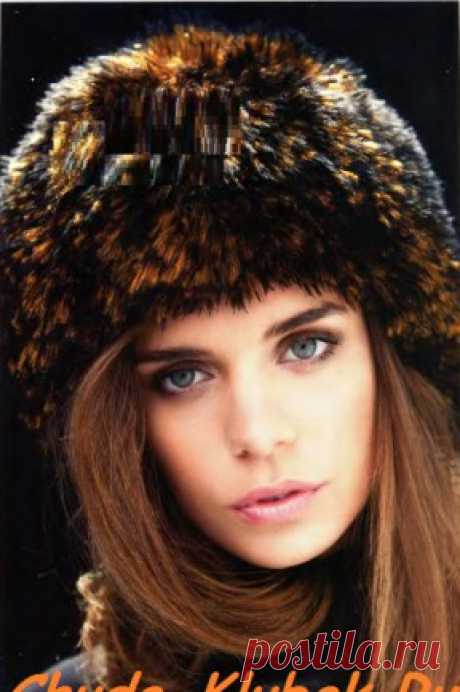 Вязаный мех шапка  