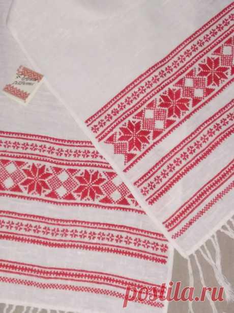 Рушник льняной( свадебный) Ручная вышивка, белоруссий лён