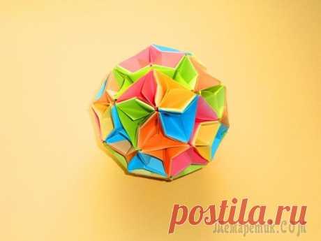 """Оригами кусудама шар из бумаги Кусудама – бумажный цветочный шар.Волшебный шар из бумаги в технике кусудама """"Арлекино"""" Делается просто, выглядит красиво и отлично подойдет для декора, можно повесить на новогоднюю елку. Для изготовл..."""