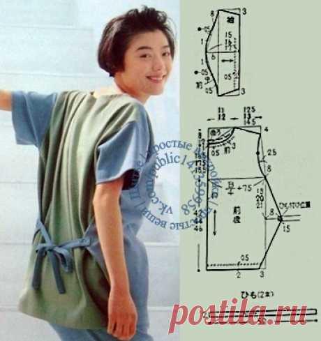Блузка-туника в стиле бохо, выкройка на размеры S, M, L.  #простыевыкройки #простыевещи #шитье #блузка #туника #бохо #выкройка