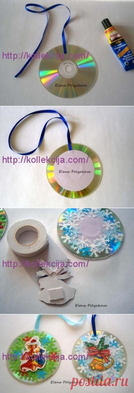 «Новогодняя открытка-шар из CD дисков».