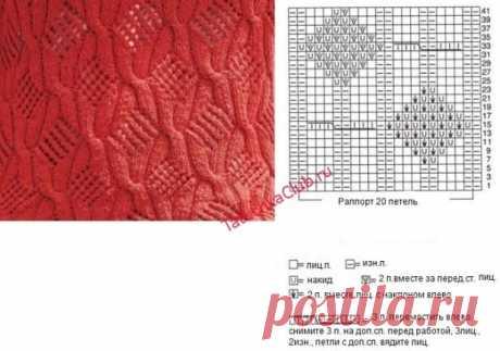 Самые простые и красивые ажурные ромбы спицами со схемами и описанием вязания