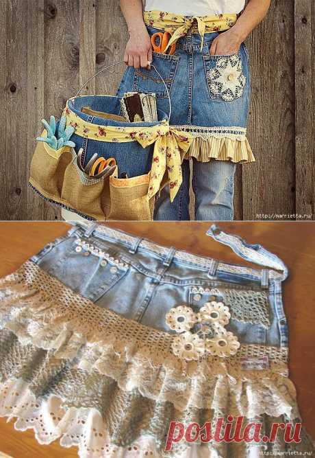 Фартуки из старых джинсов. Идеи и мастер-классы.