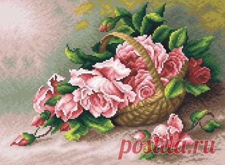 Вышивка крестом розы в корзине. Шикарная схема для вышивки роз |