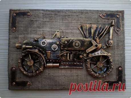 Авто и мотоцикл в стиле стим-панк из подручных материалов | Страна Мастеров