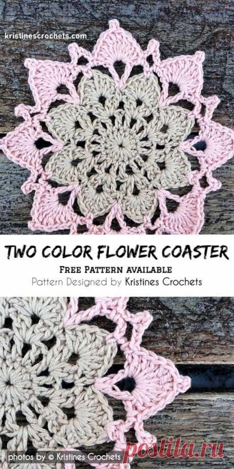 Two Color Crochet Flower Coaster Pattern #crochetcoaster #freecrochetpatter #crafts #homedecor #crochetlove #yarn #stitch #freecrochetpatterns
