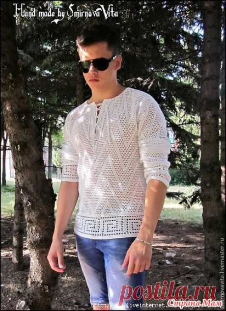 Мужская футболка-рубашка сеткой с греческой волной (крючок) - Вязание - Страна Мам
