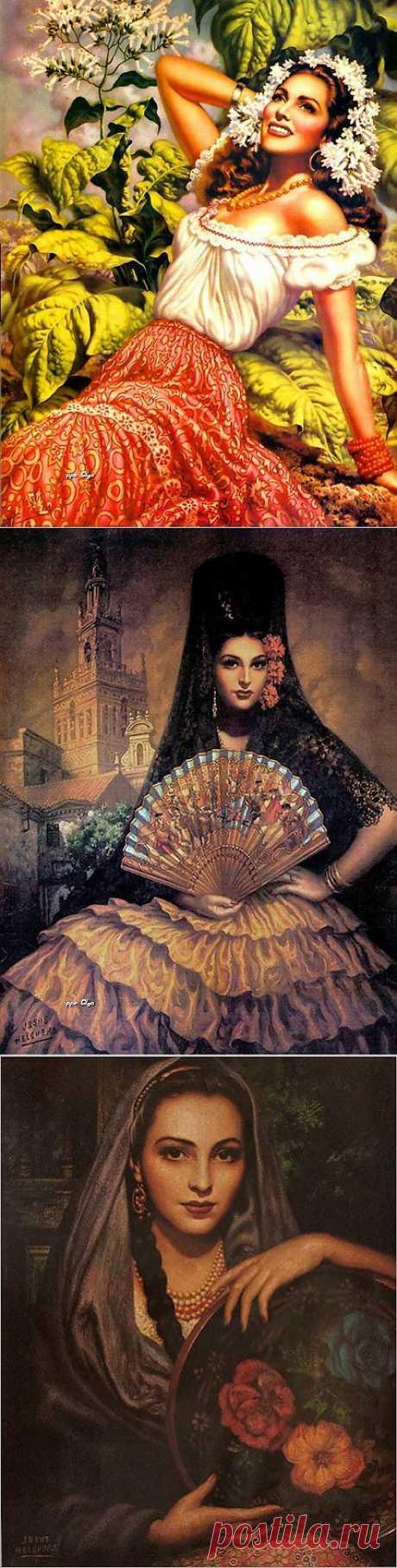 Картины мексиканского художника Jesus Helguera. ДЕВУШКИ.