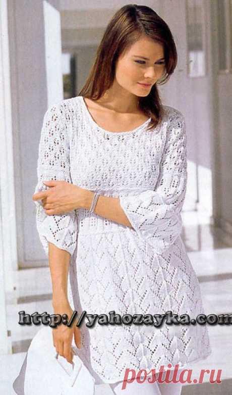 Белая туника - схема вязания + фото и описание Схема вязания белой туники спицами - вязание для домохозяек.