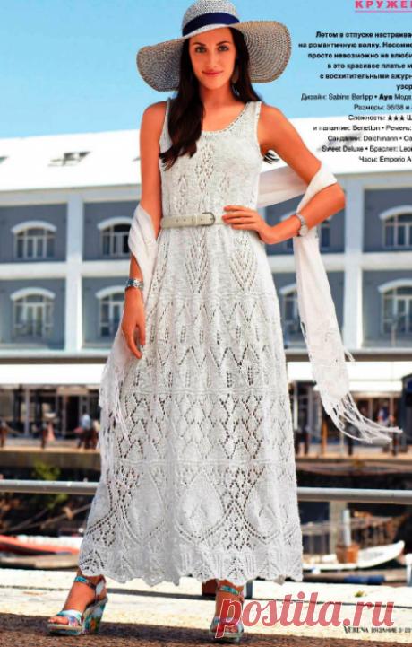 Белое кружевное платье спицами