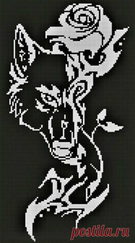 Wolf and Rose Monochrome Cross Stitch Pattern Black and White | Etsy