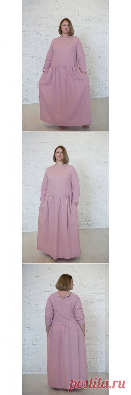 Linen dress with long sleevesWashed fall linen dress Maxi