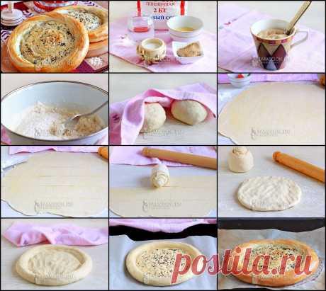 КАТЛАМА  Мука (любого сорта) - 480 г Вода - 230 мл Дрожжи - 25 г Соль - 1 ч.л. (не полная) Кунжут - для обсыпки Сахар - 1 щепотка Яйцо - для смазки лепешек  Для смазки теста: Бараний жир топленый - 50 г Масло сливочное - 10 г