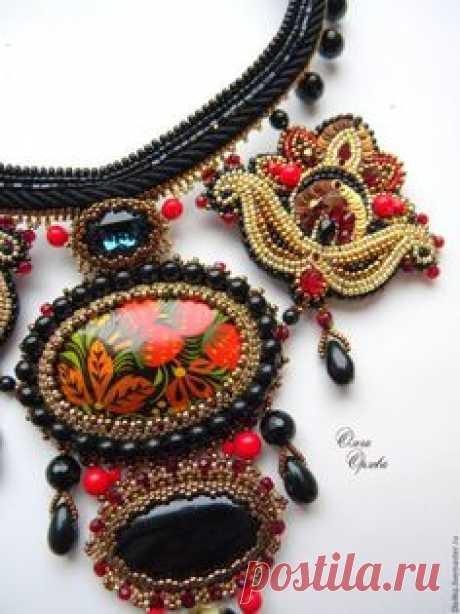 To buy Khokhloma - black, Olga Orlova, Khokhloma, a necklace in ethno style, the Russian patterns