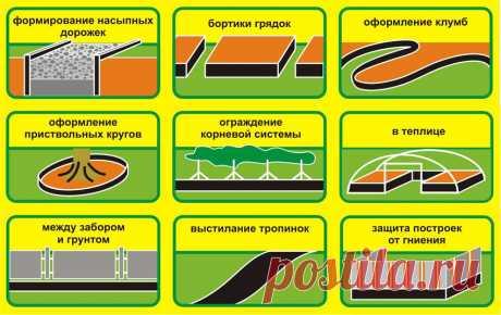 Бордюрная лента садовая - Бордюрная лента от 9,2 руб/м, применение