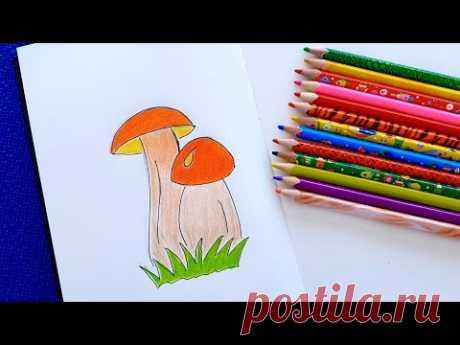 Простые рисунки. Как нарисовать гриб карандашом. Рисунки для срисовки.