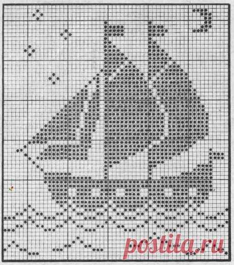 Схемы для филейного вязания: морская тема