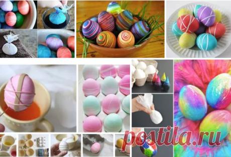 Идеи для окрашивания пасхальных яиц. На заметку. 1. Чтобы получить красивую сетчатую цветную поверхность, нужно завернуть яйцо в мокрую марлю. Концы марли зафиксировать резинкой. На марлю наносить капли краски различных цветов. Высушить и снять марлю. Для второго способа окрашивания яиц подготовить бумажное полотенце и жидкие пищевые краски. На мокрое бумажное полотенце нанести каплями несколько цветов краски. Этим полотенцем обмотать яйцо. Если краска будет плохо распрост.