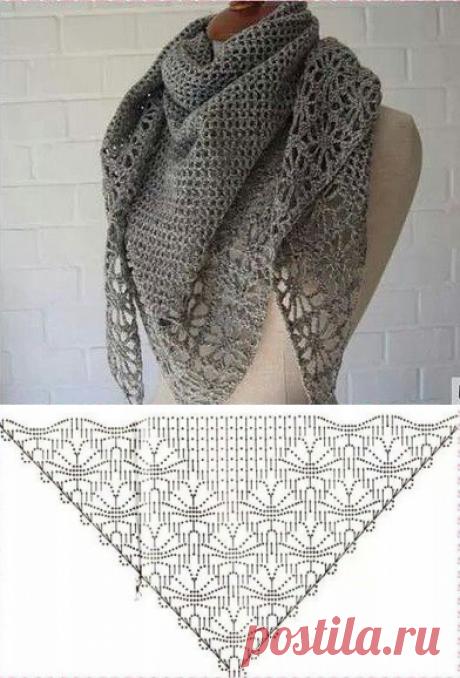 Ажурный платок с узором паучки. Схемы вязания крючком шалей  