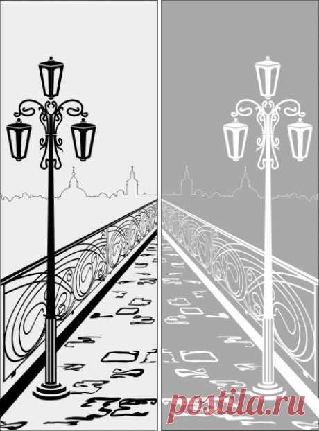 Пескоструйный рисунок мост фонарь для  плоттерной резки, дизайнерский шкаф-купе.