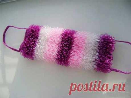 Вяжем лохматую разноцветную мочалку