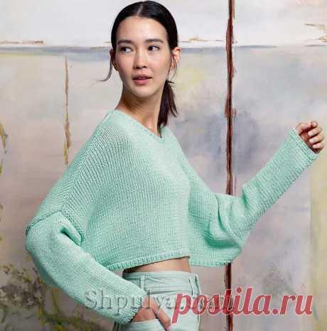 Короткий пуловер силуэта «Летучая мышь» — Shpulya.com - схемы с описанием для вязания спицами и крючком