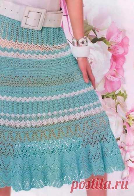 La falda veraniega por el gancho del esquema y la descripción, el vídeo mk: 20 modelos
