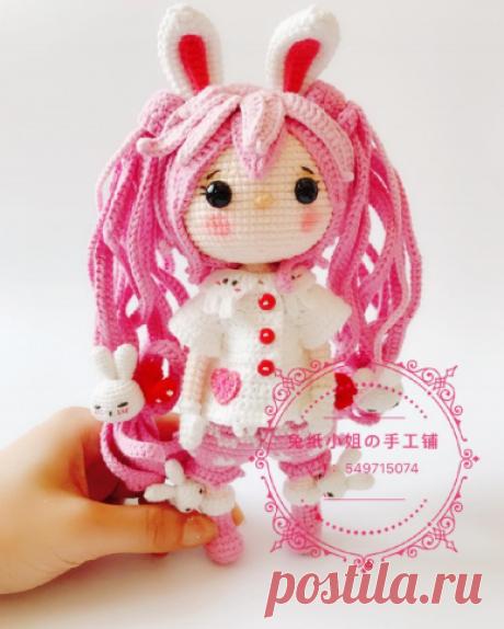 Кукла-зайка: китайская схема вязания крючком | Be Creative | Яндекс Дзен