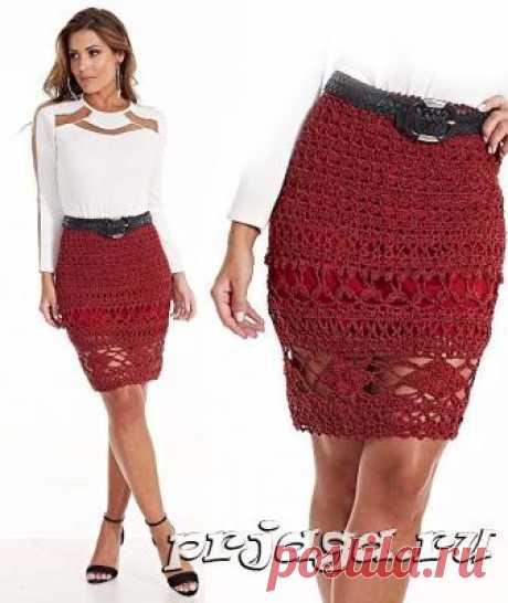 Бордовая юбка крючком