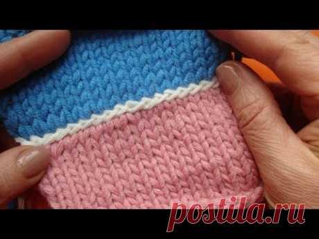 Соединение двух полотен урок вязание спицами 62
