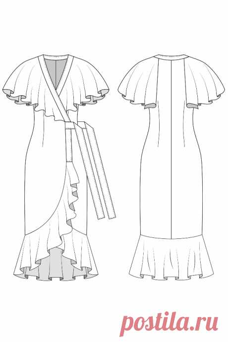 Платье 0402 — выбрать размер (от 38 до 54) и скачать выкройку в интернет-магазине LaForme: большой ассортимент актуальных моделей выкроек одежды для женщин.