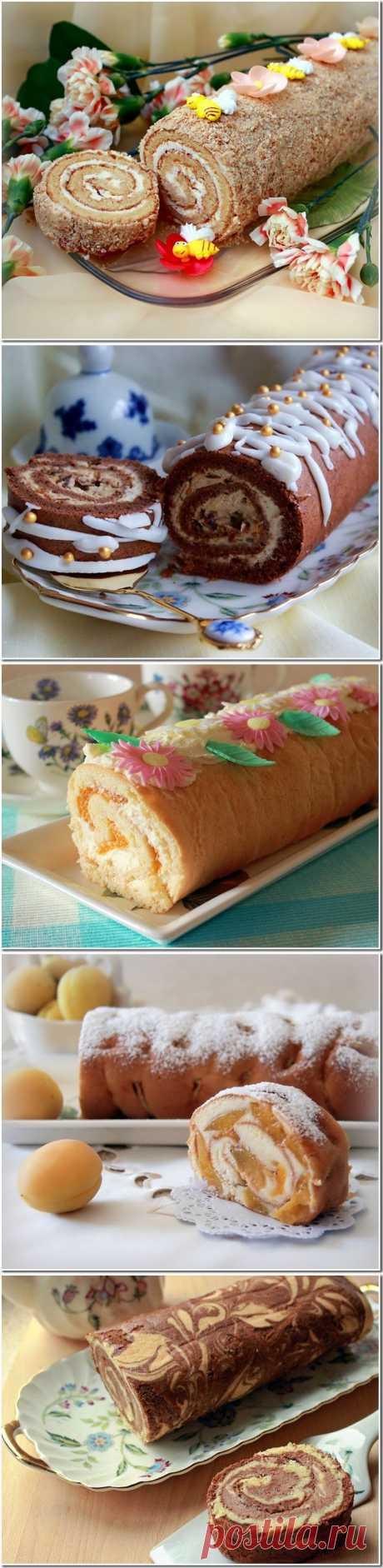 Десять рецептов вкуснейших домашних бисквитных рулетов.