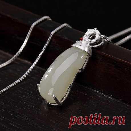 Natural Hetian Jade Bean Vintage Necklace-925 Silver Inlay | Etsy